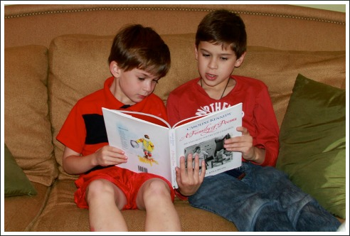 poetry for children, two boys reading