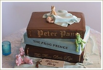 baby shower book cake, ideas for a baby shower