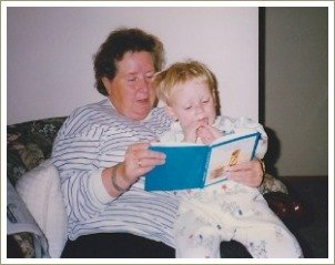 toddler books, boy reading with grandma