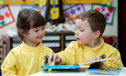children reading at school