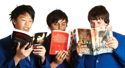 teen boys reading