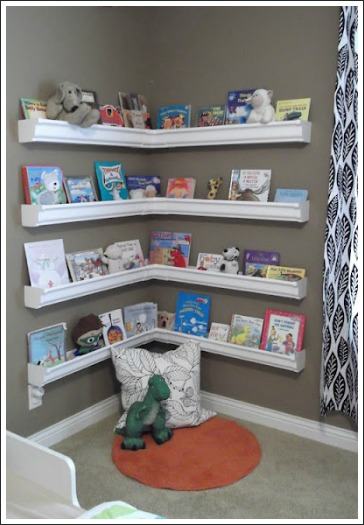 wall mounted book shelves, rain gutter book shelves