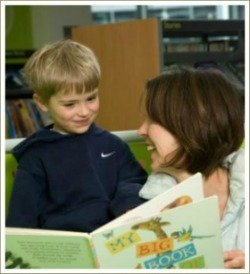 boy reading with mum, books for young children